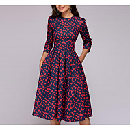 Women's Going out A Line Dress - Floral Print Spring Red L XL XXL