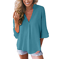 Women's Casual Basic Plus Size Blouse - Solid Colored V Neck Black