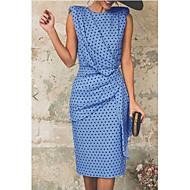 Women's Basic Sheath Dress - Polka Dot White Blushing Pink Light Blue M L XL