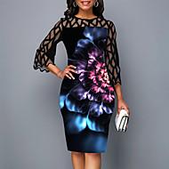 Women's Cocktail Party Elegant Sheath Dress - Floral Lace Winter Black M L XL XXL