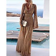 Women's Party / Evening Maxi A Line Swing Dress Sequins Deep V Khaki M L XL XXL