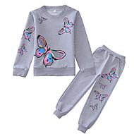 Kids Girls' Clothing Set Long Sleeve Blushing Pink Gray Geometric Basic