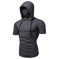 Men's Short Sleeve Hoodie with Mask Running Shirt Tee Tshirt Top Street Athleisure Summer Cotton Thermal Warm Breathable Soft Running Jogging Training Sportswear Solid Colored Normal Black Burgundy