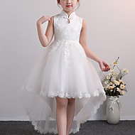 Kids Little Girls' Dress Floral Lace up Blue Blushing Pink White Knee-length Sleeveless Chinoiserie Cute Dresses Children's Day Regular Fit