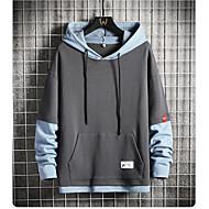 Men's Color Block Pullover Hoodie Sweatshirt Casual Hoodies Sweatshirts  Blue Gray Black