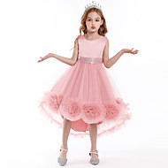 Kids Little Dress Girls' Floral Party Performance Sequins Layered Tulle Purple Blushing Pink Green Asymmetrical Satin Sleeveless Princess Cute Dresses 3-10 Years