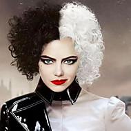 101 Dalmatians Cruella De Vil Cosplay Wigs Middle Part Women's Heat Resistant Fiber 12 inch Black White Curly Adults Teen Anime Wig / Hand wash / Washable / Lolita Wigs / Halloween / Trendy