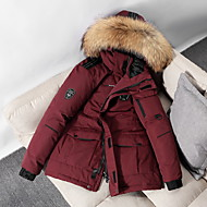 Women's Down Winter Causal Daily Holiday Regular Coat Hooded Regular Fit Casual Jacket Long Sleeve Pocket Solid Color Creamy-white Red Wine Black