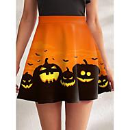 Women's Halloween Homecoming Swing Streetwear Punk & Gothic Mini Skirts Ruffle Print Graphic Pumpkin Blushing Pink Orange / Winter / Loose