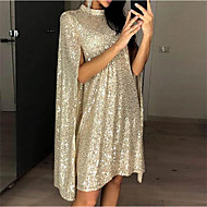 Women's Short Mini Dress Sheath Dress Silver Gold Sleeveless Sequins Split Solid Color Crew Neck Fall Spring Party Holiday Going out Stylish Elegant 2021 S M L XL XXL