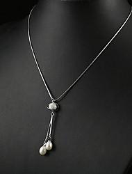 """abordables -blanc 3,5 - 4 mm d'un pendentif de perles avec 17 """"de la chaîne en argent sterling"""