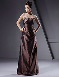 cheap -A-Line Princess Sheath / Column Strapless Floor Length Taffeta Bridesmaid Dress with Ruching by LAN TING BRIDE®