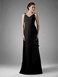 cheap -Sheath / Column V Neck Floor Length Chiffon Mother of the Bride Dress with Beading Criss Cross by LAN TING BRIDE®