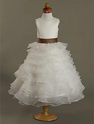 cheap -Ball Gown Tea Length Flower Girl Dress - Satin Sleeveless Jewel Neck by LAN TING BRIDE®