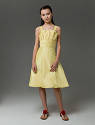 cheap -A-Line / Princess Straps Knee Length Taffeta Junior Bridesmaid Dress with Crystals / Ruched by LAN TING BRIDE® / Spring / Summer / Fall / Apple / Hourglass