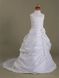cheap -A-Line Court Train Flower Girl Dress - Organza Satin Sleeveless Spaghetti Straps with Appliques by LAN TING BRIDE®