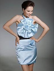 abordables -Fourreau / Colonne Licou Courte / Mini Satin Look de Célébrité Soirée Cocktail Robe avec Ceinture / Ruban / Fleur par TS Couture®