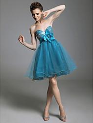 abordables -Une ligne princesse bretelles sweetheart short / mini tulle robe de bal avec drapage par ts couture®