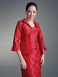 Women's Wrap Coats/Jackets 3/4-Length Sleeve Taffeta Red Wedding / Party/Evening Fold-over Collar Draped Open Front