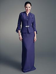 abordables -Fourreau / Colonne Longueur Sol Mousseline de soie Satin Robe de Mère de Mariée  - Broche en Cristal par LAN TING BRIDE®