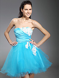 cheap -Ball Gown Strapless Short / Mini Tulle Prom Dress with Beading by TS Couture®