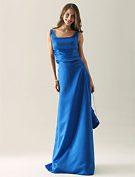 cheap -Sheath / Column Straps Floor Length Satin Bridesmaid Dress with Side Draping by LAN TING BRIDE®