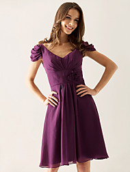 cheap -A-Line / Princess V Neck Knee Length Chiffon Bridesmaid Dress with Draping / Flower by