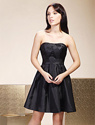 A-Line Strapless Short / Mini Taffeta Bridesmaid Dress with Side Draping by LAN TING BRIDE®