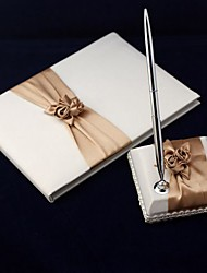 Guest Book Pen Set Satin Garden ThemeWithSash Petals