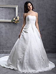 cheap -A-Line / Princess Sweetheart Neckline Chapel Train Lace / Satin Made-To-Measure Wedding Dresses with Beading / Appliques / Lace by LAN TING BRIDE®