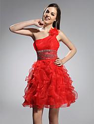 Una principessa a-linea una spalla breve / vestito da festa di organza mini con bordare da ts couture®