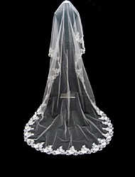 Wedding Veil One-tier Cathedral Veils Lace Applique Edge 220.47 in (560cm) Tulle WhiteA-line, Ball Gown, Princess, Sheath/ Column,