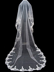 cheap -One-tier Lace Applique Edge Wedding Veil Cathedral Veils With Applique 196.85 in (500cm) Tulle A-line, Ball Gown, Princess, Sheath/
