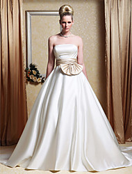 A-Line Princess Strapless Chapel Train Satin Wedding Dress with Sash / Ribbon Bow Side-Draped by LAN TING BRIDE®