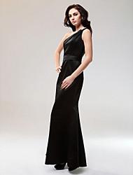 baratos -Sereia Assimétrico Longo Cetim Estilo Celebridade Evento Formal Vestido com Detalhes em Cristal de TS Couture®