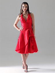cheap -A-Line Princess V Neck Halter Knee Length Taffeta Bridesmaid Dress with Ruffles Side Draping by LAN TING BRIDE®