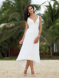 cheap -A-Line Plunging Neckline Asymmetrical Chiffon Wedding Dress with Ruche by LAN TING BRIDE®