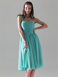 A-Line Princess One Shoulder Knee Length Chiffon Bridesmaid Dress with Ruching Pleats by LAN TING BRIDE®
