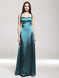 Sheath / Column Spaghetti Straps Floor Length Satin Stretch Satin Bridesmaid Dress with Pleats by LAN TING BRIDE®