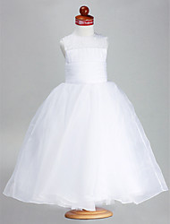 cheap -Ball Gown Ankle Length Flower Girl Dress - Organza Satin Sleeveless Jewel Neck with Beading Draping Ruched by LAN TING BRIDE®