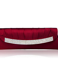 お買い得  -女性用 バッグ シルク イブニングバッグ クリスタル / ラインストーン フクシャ / レッド / バーガンディー