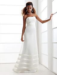 Trapèze Sans Bretelles Longueur Sol Organza Satin Robe de mariée avec Billes Ceinture / Ruban par LAN TING BRIDE®