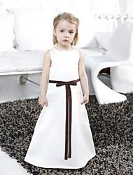 A-line principessa lunghezza pavimento ragazza fiore abito - raso senza maniche collo scollo con nastro di lan ting bride®