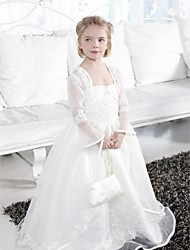 cheap -Ball Gown Floor Length Flower Girl Dress - Organza Satin Sleeveless Spaghetti Straps with Beading Appliques Ruffles Split Front by LAN