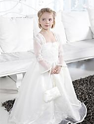 Robe de bal longueur de plancher robe de fille de fleur - bretelles en satin sans bretelles spaghetti par lan ting bride®