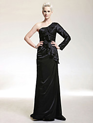 cheap -Sheath / Column One Shoulder Sweep / Brush Train Stretch Satin Formal Evening Dress with Ruffles by