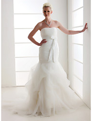 Mermaid / Trumpet Strapless Court Train Organza Satin Wedding Dress with Bow Pick-Up Ruche Side-Draped by LAN TING BRIDE®