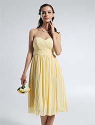 A-Line Strapless Sweetheart Knee Length Chiffon Bridesmaid Dress with Draping Ruching Pleats Side Draping by LAN TING BRIDE®