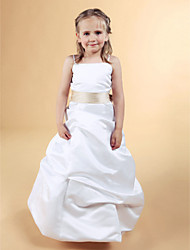 A-Line Princess Floor Length Flower Girl Dress - Satin Sleeveless Spaghetti Straps with Ribbon by LAN TING BRIDE®