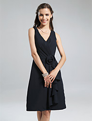 A-Line V-neck Knee Length Chiffon Bridesmaid Dress with Flower(s) Ruffles Side Draping by LAN TING BRIDE®
